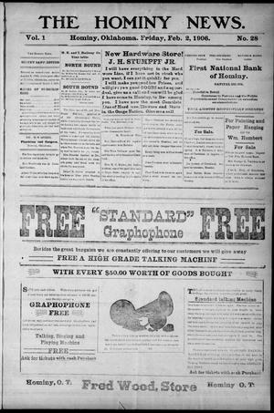Primary view of object titled 'The Hominy News. (Hominy, Okla.), Vol. 1, No. 28, Ed. 1 Friday, February 2, 1906'.