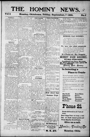 Primary view of object titled 'The Hominy News. (Hominy, Okla.), Vol. 2, No. 7, Ed. 1 Friday, September 7, 1906'.