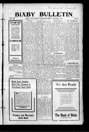 Primary view of object titled 'Bixby Bulletin (Bixby, Okla.), Vol. 8, No. 50, Ed. 1 Friday, January 17, 1913'.