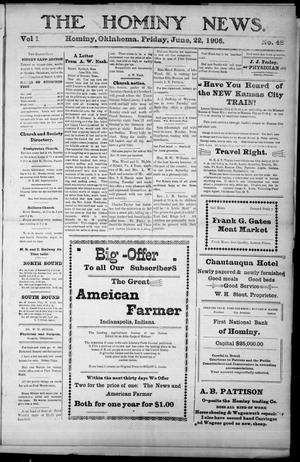 Primary view of object titled 'The Hominy News. (Hominy, Okla.), Vol. 1, No. 48, Ed. 1 Friday, June 22, 1906'.