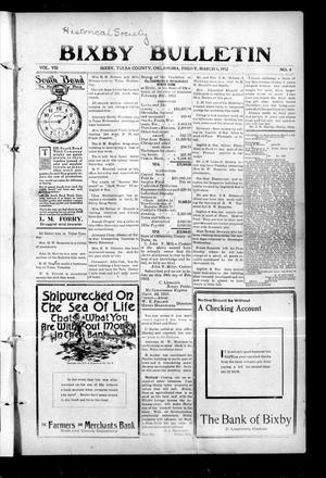 Primary view of object titled 'Bixby Bulletin (Bixby, Okla.), Vol. 8, No. 4, Ed. 1 Friday, March 1, 1912'.
