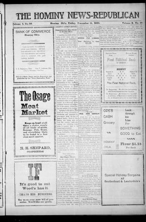 Primary view of object titled 'The Hominy News-Republican (Hominy, Okla.), Vol. 3, No. 18, Ed. 1 Friday, December 11, 1908'.