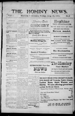 Primary view of object titled 'The Hominy News. (Hominy, Okla.), Vol. 1, No. 5, Ed. 1 Friday, August 25, 1905'.
