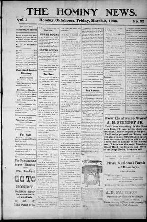 Primary view of object titled 'The Hominy News. (Hominy, Okla.), Vol. 1, No. 32, Ed. 1 Friday, March 2, 1906'.