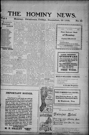 Primary view of object titled 'The Hominy News. (Hominy, Okla.), Vol. 2, No. 22, Ed. 1 Friday, December 28, 1906'.