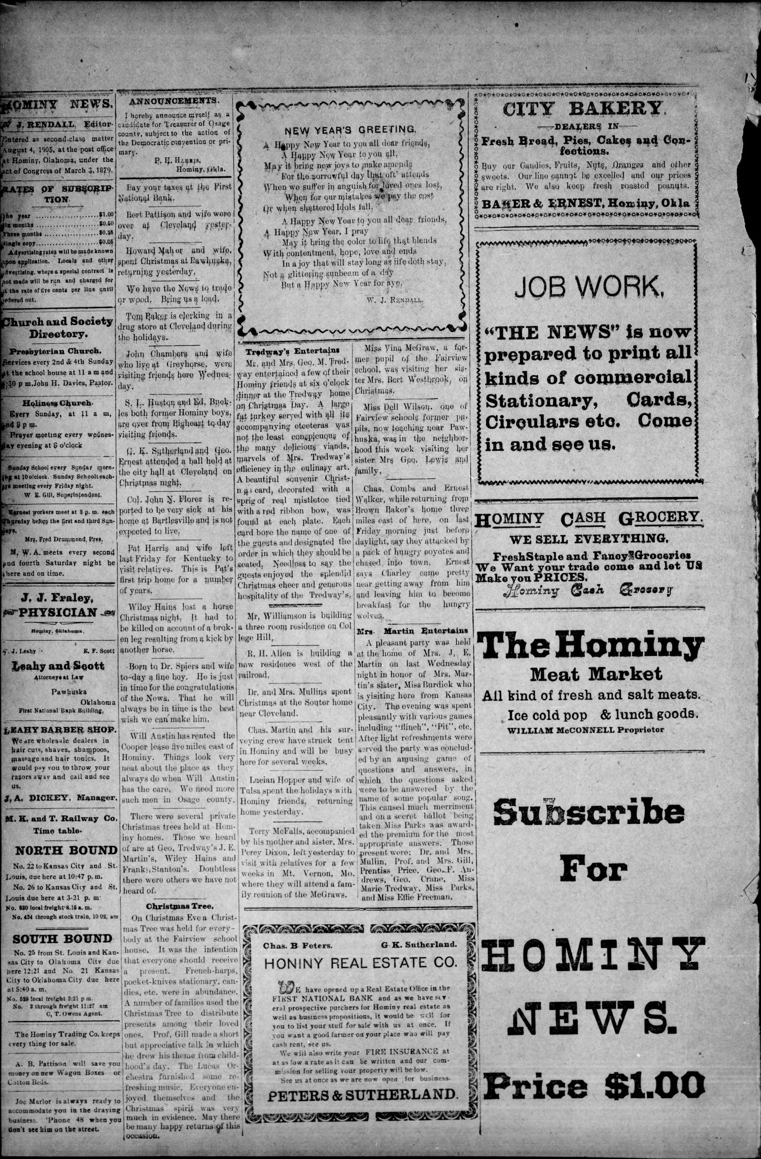The Hominy News. (Hominy, Okla.), Vol. 2, No. 22, Ed. 1 Friday, December 28, 1906                                                                                                      [Sequence #]: 4 of 4