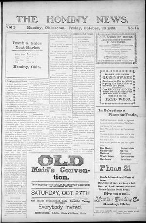 Primary view of object titled 'The Hominy News. (Hominy, Okla.), Vol. 2, No. 14, Ed. 1 Friday, October 26, 1906'.