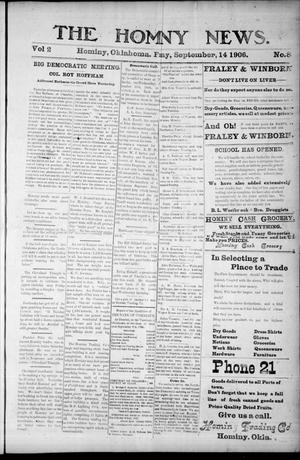 Primary view of object titled 'The Hominy News. (Hominy, Okla.), Vol. 2, No. 8, Ed. 1 Friday, September 14, 1906'.