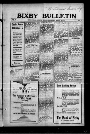 Primary view of object titled 'Bixby Bulletin (Bixby, Okla.), Vol. 9, No. 6, Ed. 1 Friday, March 14, 1913'.