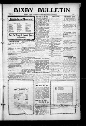 Primary view of object titled 'Bixby Bulletin (Bixby, Okla.), Vol. 10, No. 1, Ed. 1 Friday, February 6, 1914'.