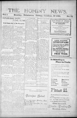 Primary view of object titled 'The Hominy News. (Hominy, Okla.), Vol. 2, No. 13, Ed. 1 Friday, October 19, 1906'.