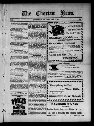 Primary view of object titled 'The Choctaw News. (Choctaw City, Okla.), Vol. 5, No. 3, Ed. 1 Saturday, January 8, 1898'.