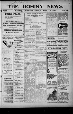 Primary view of object titled 'The Hominy News. (Hominy, Okla.), Vol. 2, No. 50, Ed. 1 Friday, July 12, 1907'.