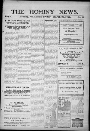 Primary view of The Hominy News. (Hominy, Okla.), Vol. 2, No. 34, Ed. 1 Friday, March 22, 1907