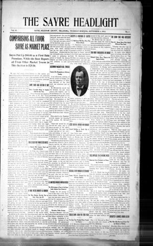 Primary view of The Sayre Headlight, Vol. 15, No. 1, Ed. 1 Thursday, September 4, 1913