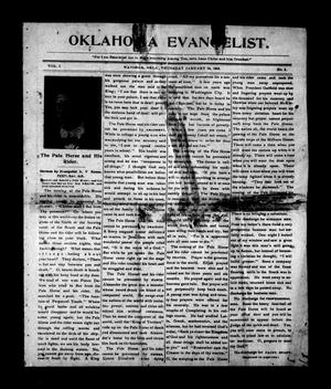 Primary view of object titled 'Oklahoma Evangelist. (Watonga, Okla.), Vol. 1, No. 3, Ed. 1 Thursday, January 29, 1903'.