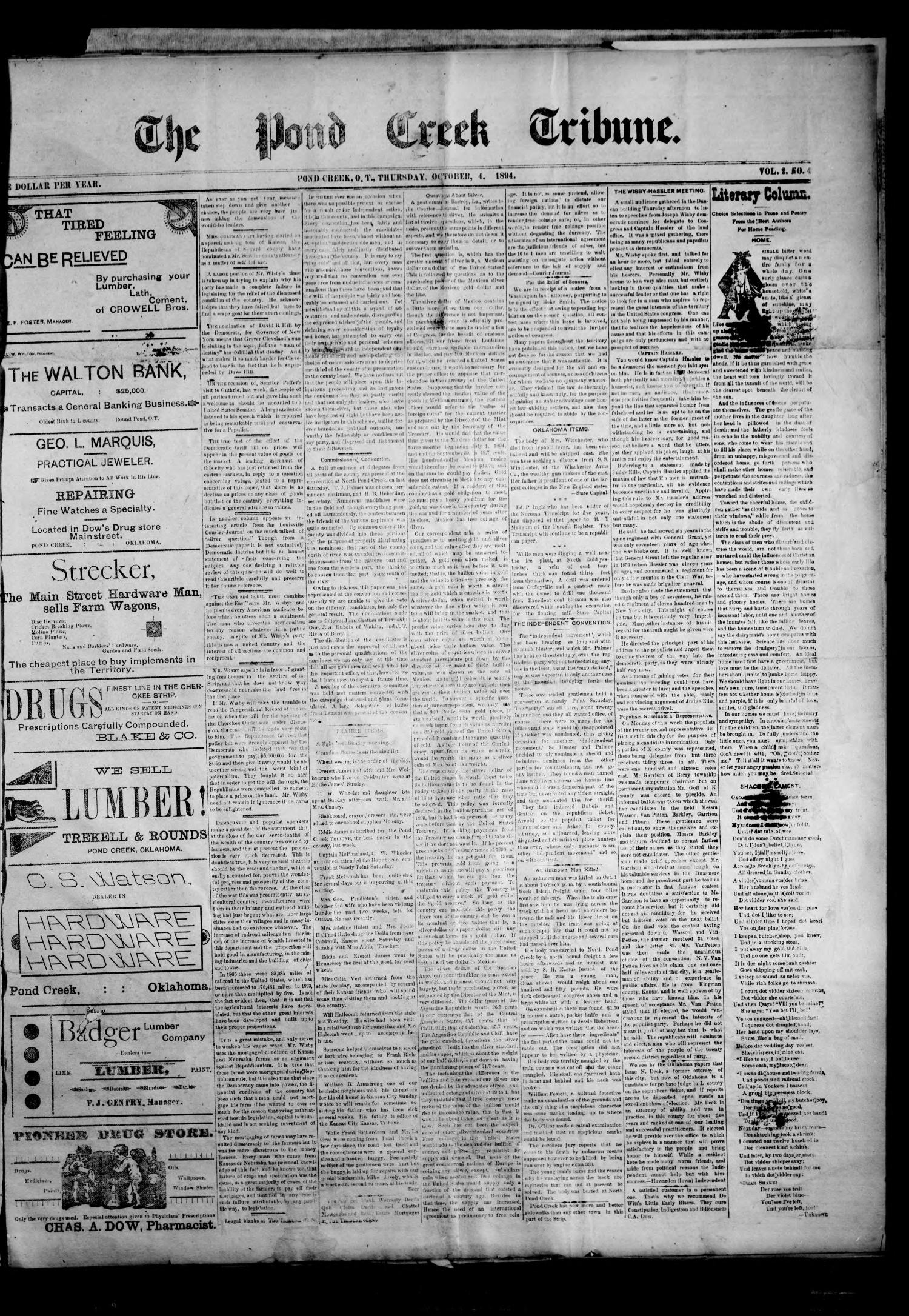 The Pond Creek Tribune. (Pond Creek, Okla. Terr.), Vol. 2, No. 4, Ed. 1 Thursday, October 4, 1894                                                                                                      [Sequence #]: 1 of 4