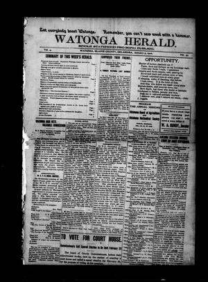 Primary view of object titled 'Watonga Herald. (Watonga, Okla.), Vol. 4, No. 33, Ed. 1 Friday, January 5, 1906'.
