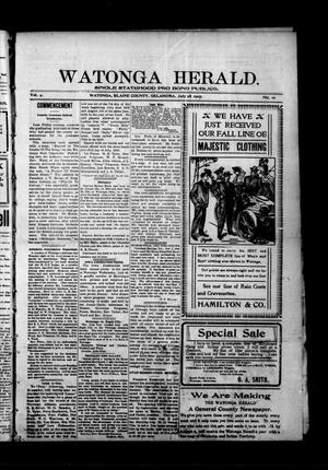 Primary view of object titled 'Watonga Herald. (Watonga, Okla.), Vol. 4, No. 10, Ed. 1 Friday, July 28, 1905'.