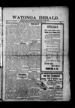 Primary view of object titled 'Watonga Herald. (Watonga, Okla.), Vol. 4, No. 7, Ed. 1 Friday, July 7, 1905'.