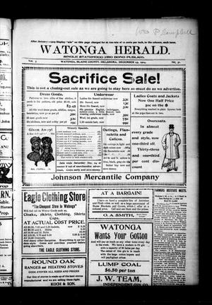 Primary view of object titled 'Watonga Herald. (Watonga, Okla.), Vol. 3, No. 31, Ed. 1 Friday, December 23, 1904'.