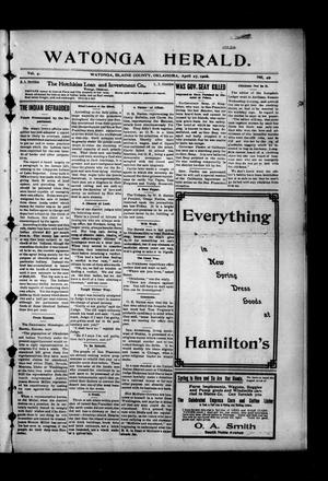 Primary view of object titled 'Watonga Herald. (Watonga, Okla.), Vol. 4, No. 49, Ed. 1 Friday, April 27, 1906'.