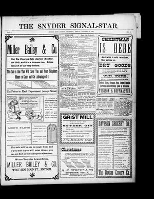 Primary view of object titled 'The Snyder Signal-Star. (Snyder, Okla.), Vol. 3, No. 3, Ed. 1 Friday, December 16, 1904'.