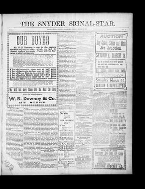 Primary view of object titled 'The Snyder Signal-Star. (Snyder, Okla.), Vol. 3, No. 15, Ed. 1 Friday, March 10, 1905'.