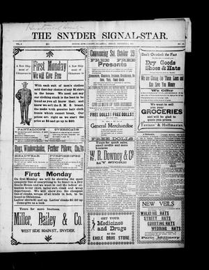 Primary view of object titled 'The Snyder Signal-Star. (Snyder, Okla.), Vol. 2, No. 49, Ed. 1 Friday, November 4, 1904'.