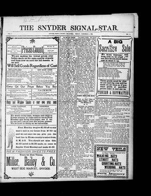 Primary view of object titled 'The Snyder Signal-Star. (Snyder, Okla.), Vol. 3, No. 1, Ed. 1 Friday, December 2, 1904'.