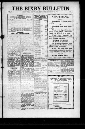 Primary view of object titled 'The Bixby Bulletin (Bixby, Okla.), Vol. 10, No. 46, Ed. 1 Friday, January 15, 1915'.