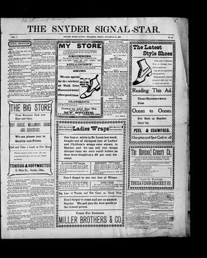 Primary view of object titled 'The Snyder Signal-Star. (Snyder, Okla.), Vol. 1, No. 36, Ed. 1 Friday, November 20, 1903'.