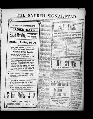 Primary view of object titled 'The Snyder Signal-Star. (Snyder, Okla.), Vol. 3, No. 24, Ed. 1 Friday, July 21, 1905'.