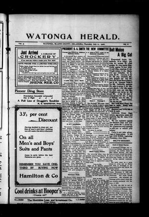 Primary view of object titled 'Watonga Herald. (Watonga, Okla.), Vol. 5, No. 8, Ed. 1 Thursday, July 12, 1906'.
