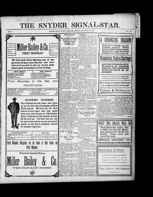 Primary view of object titled 'The Snyder Signal-Star. (Snyder, Okla.), Vol. 2, No. 44, Ed. 1 Friday, September 30, 1904'.