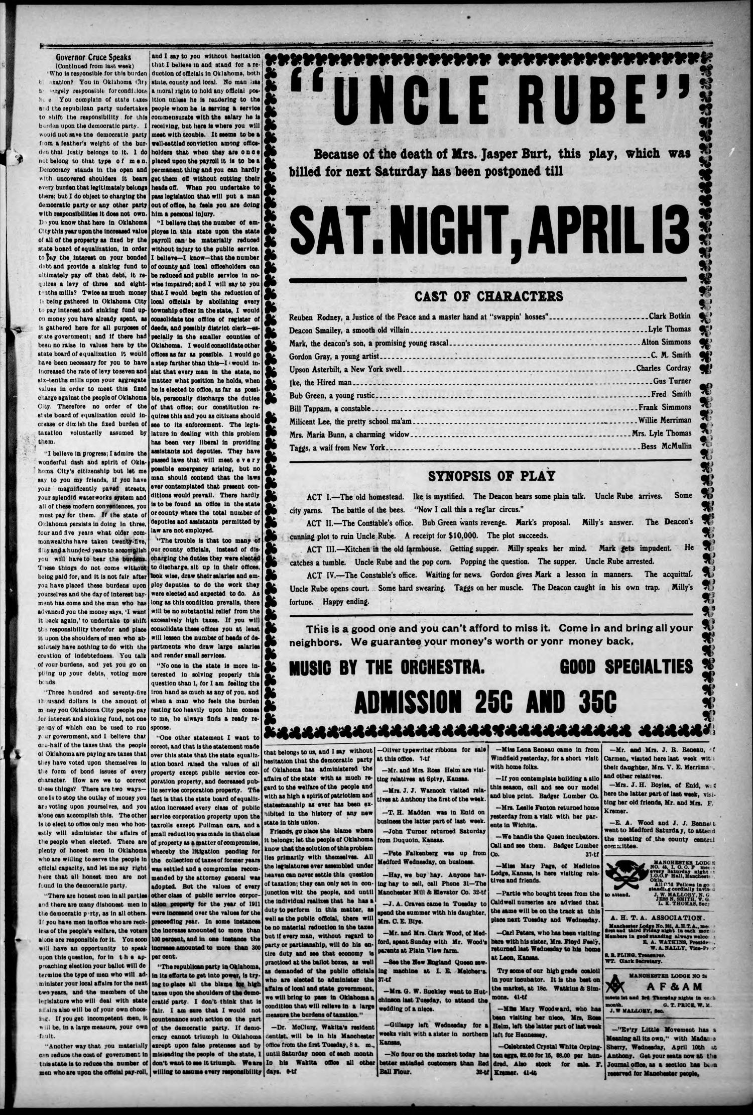 The Manchester Journal. (Manchester, Okla.), Vol. 19, No. 44, Ed. 1 Wednesday, April 5, 1911                                                                                                      [Sequence #]: 3 of 4