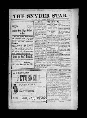 Primary view of object titled 'The Snyder Star. (Snyder, Okla. Terr.), Vol. 1, No. 27, Ed. 1 Thursday, September 17, 1903'.