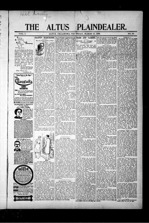 Primary view of object titled 'The Altus Plaindealer. (Altus, Okla.), Vol. 1, No. 38, Ed. 1 Thursday, March 17, 1898'.