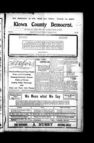 Primary view of object titled 'Kiowa County Democrat. (Snyder, Okla.), Vol. 1, No. 52, Ed. 1 Thursday, October 25, 1906'.