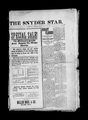 Primary view of object titled 'The Snyder Star. (Snyder, Okla. Terr.), Vol. 1, No. 11, Ed. 1 Thursday, May 28, 1903'.