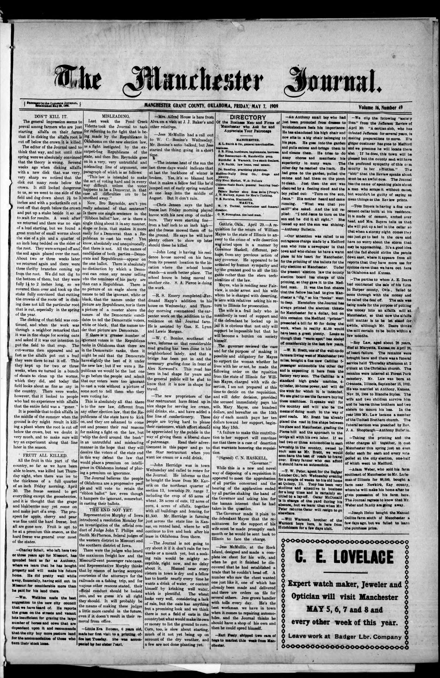 The Manchester Journal. (Manchester, Okla.), Vol. 16, No. 49, Ed. 1 Friday, May 7, 1909                                                                                                      [Sequence #]: 1 of 4