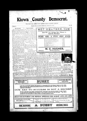 Primary view of object titled 'Kiowa County Democrat. (Snyder, Okla.), Vol. 1, No. 42, Ed. 1 Thursday, August 16, 1906'.