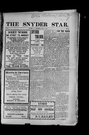 Primary view of object titled 'The Snyder Star. (Snyder, Okla. Terr.), Vol. 1, No. 20, Ed. 1 Thursday, July 30, 1903'.