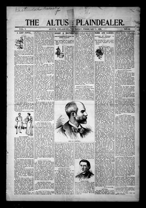 Primary view of object titled 'The Altus Plaindealer. (Altus, Okla.), Vol. 1, No. 32, Ed. 1 Thursday, February 3, 1898'.