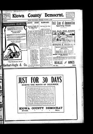 Primary view of object titled 'Kiowa County Democrat. (Snyder, Okla.), Vol. 5, No. 6, Ed. 1 Thursday, December 2, 1909'.