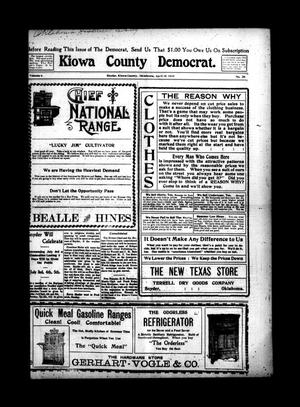 Primary view of object titled 'Kiowa County Democrat. (Snyder, Okla.), Vol. 4, No. 25, Ed. 1 Thursday, April 15, 1909'.