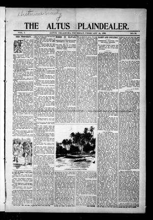 Primary view of object titled 'The Altus Plaindealer. (Altus, Okla.), Vol. 1, No. 35, Ed. 1 Thursday, February 24, 1898'.