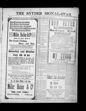 Primary view of object titled 'The Snyder Signal-Star. (Snyder, Okla.), Vol. 3, No. 33, Ed. 1 Friday, July 14, 1905'.