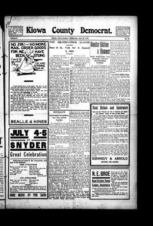Primary view of Kiowa County Democrat. (Snyder, Okla.), Vol. 5, No. 35, Ed. 1 Thursday, June 23, 1910