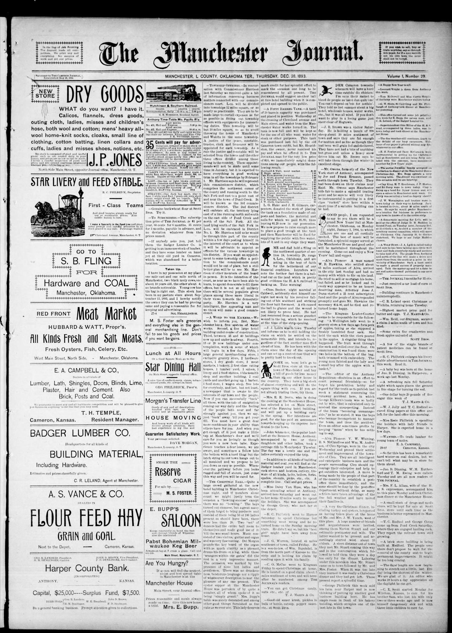 The Manchester Journal  (Manchester, Okla  Terr ), Vol  1